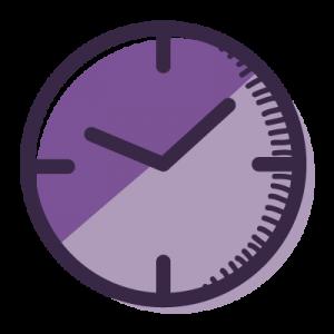purple cartoon clock