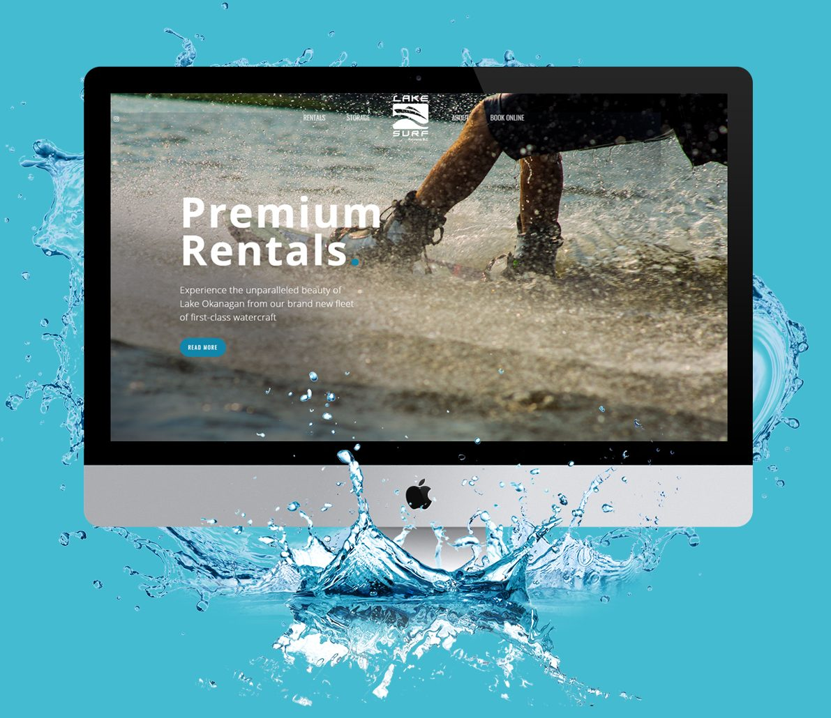website design example for surf rental company